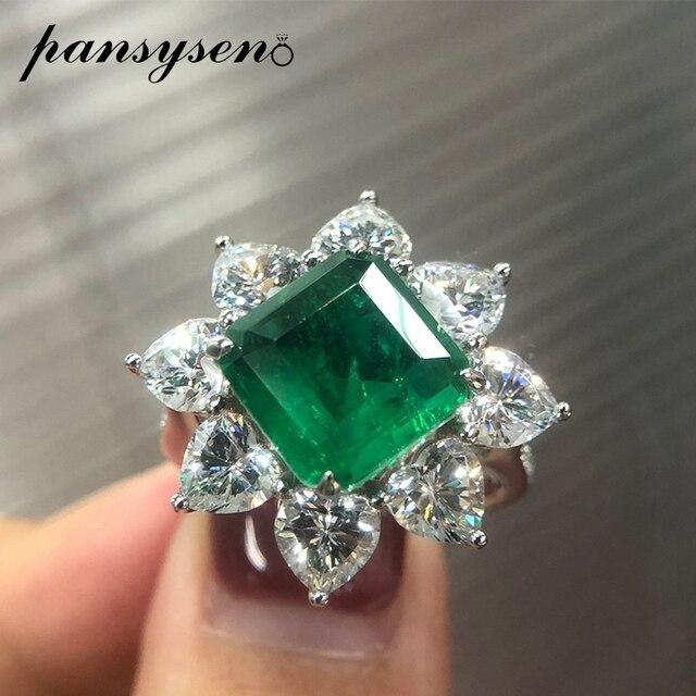 PANSYSEN 여성을위한 절묘한 럭셔리 10MM 스퀘어 에메랄드 반지 여성 기념일 칵테일 파티 반지 다이아몬드 파인 쥬얼리 선물