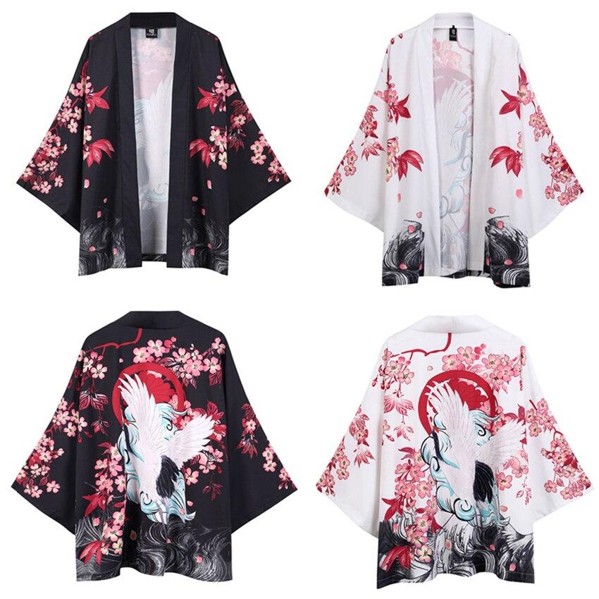 White Black Japanese Traditional Kimono For Man Crane Sakura Print Fashion Haori Cardigan Sunscreen Coat Robe Streetwear