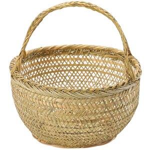Image 5 - Round large bamboo wicker basket straw rattan handmade organizer baskets for storage bread fruit Laundry Panier Osier Picnic