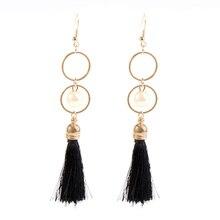 Bohemian Tassel pearl Long Drop Earrings for Women Fringe Earrings 2019 Fashion Woman Jewelry stylish faux pearl fringe earrings