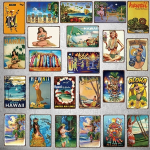 Aloha Hawaii Travel City Vintage Metal Sign Hula Dance Wall Retro Poster Bar Art Home Craft Decor Cuadros DU-5415A