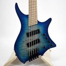 Zlg 5 String Headless Bass Aangewakkerd Fret Electric Bass Gradiënt Blauw Swamp Ash Body Maple Top Actieve Pick Up