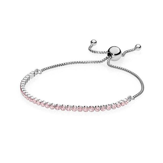 Kakany 2020 nouveau haute qualité Rose or Rose arc-en-ciel scintillant Transparent lueur curseur Bracelet femme mode bijoux cadeau