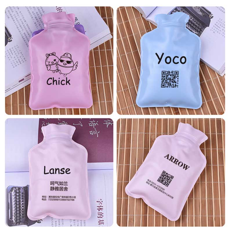 50pcs 17*11cm Custom Logo small Water Injection Hot Water Bottle Watering Warm Water winter Wash Cloth Hand Warmer