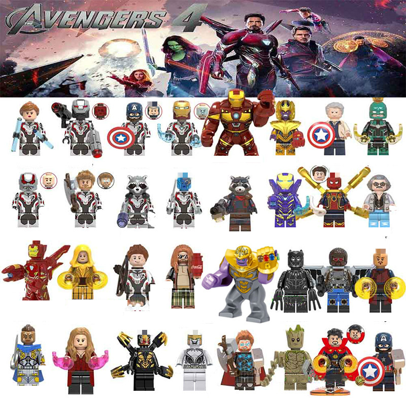 Captain Marvel Spiderman Avengersing Endgame Figures War Machine Thanos Iron Man Black Widow Building Blocks Toys For Children