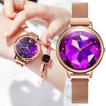 Relojes de lujo de 2020 para mujer, relojes de cristal de oro rosa de diamante, relojes de pulsera informales para mujer, relojes de pulsera para mujer, relojes femeninos