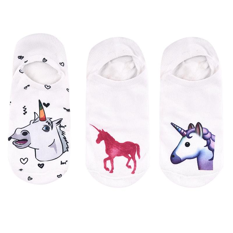 3pairs/Lot Fashion Painting Socks Women'S Funny Cute Socks Ankle Socks Novelty Casual Short Meias