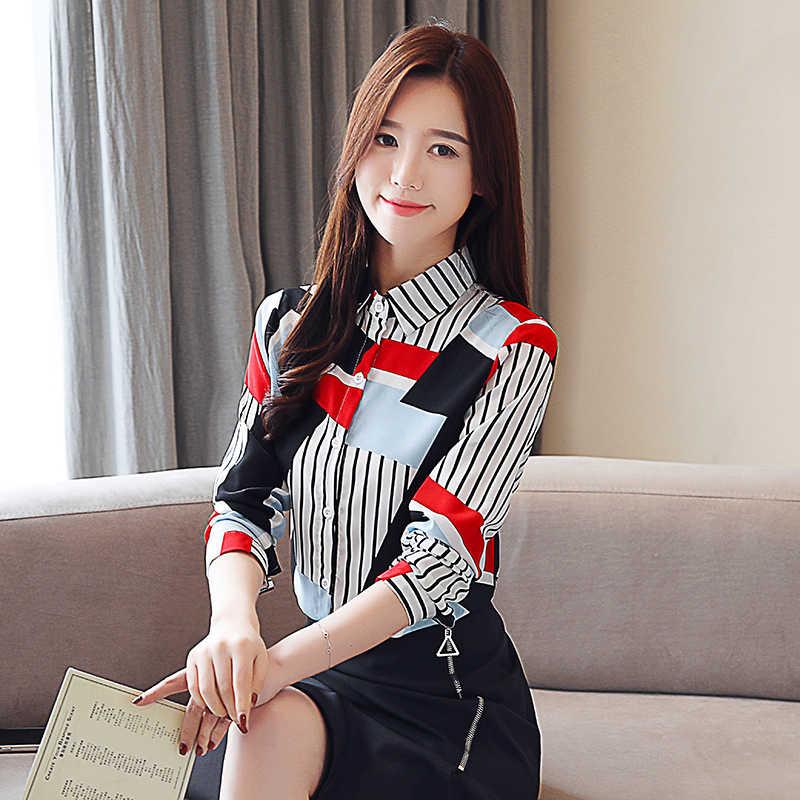 Mode coréenne en mousseline de soie femmes Blouses col rabattu femmes chemises de grande taille XXL Blusas Femininas Elegante dames hauts