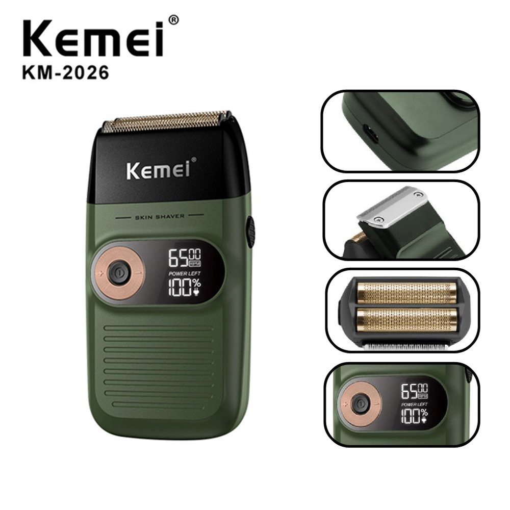 Kemei Electric Shaver For Men Twin Blade Waterproof Reciprocating Cordless Razor Shaving Machine USB Rechargeable Barber Trimmer