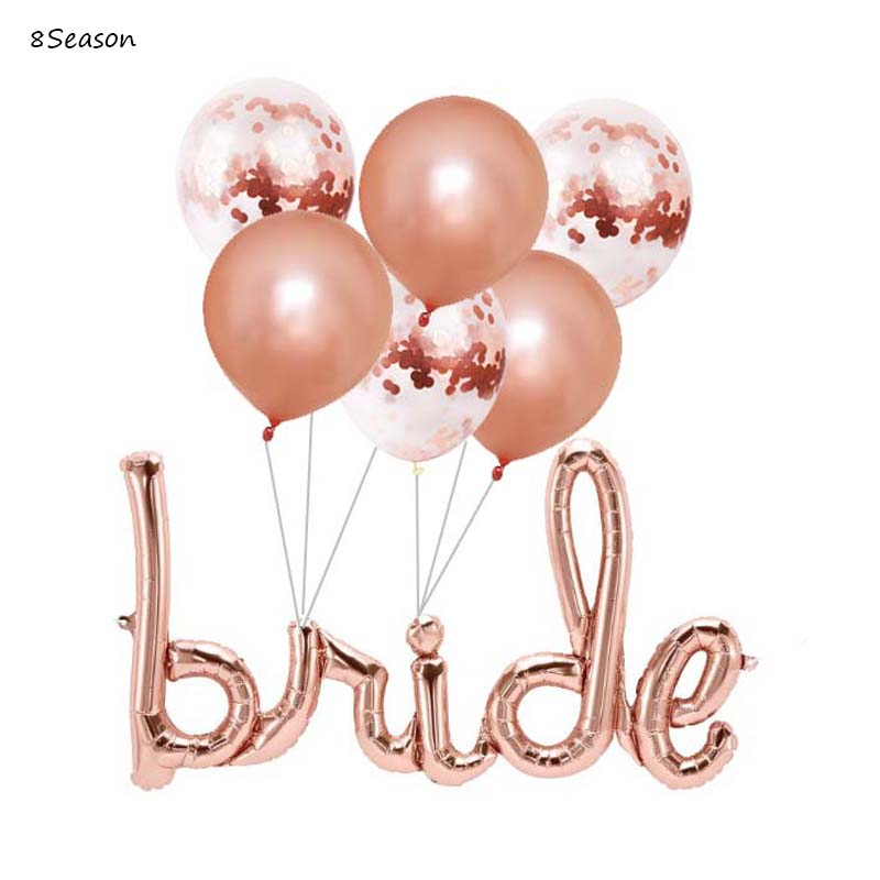 8Season Rose Gold Bride Balloon Bachelorette Balloons Party Decoration Bridal Shower Hen Decorations