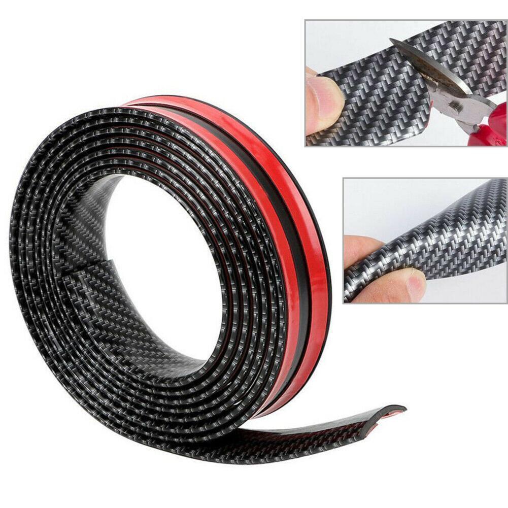 3cm*1m Car Sticker Carbon Fiber Rubber Door Sill Guard Door Edge Bumper Styling Accessories Auto Car Paste Strip Anti-colli J6E5