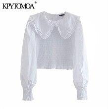 KPYTOMOA Women 2020 Fashion Smocked Elastic Ruffled Cropped Blouses Vintage Long Sleeve Back Zipper Female Shirts Chic Tops