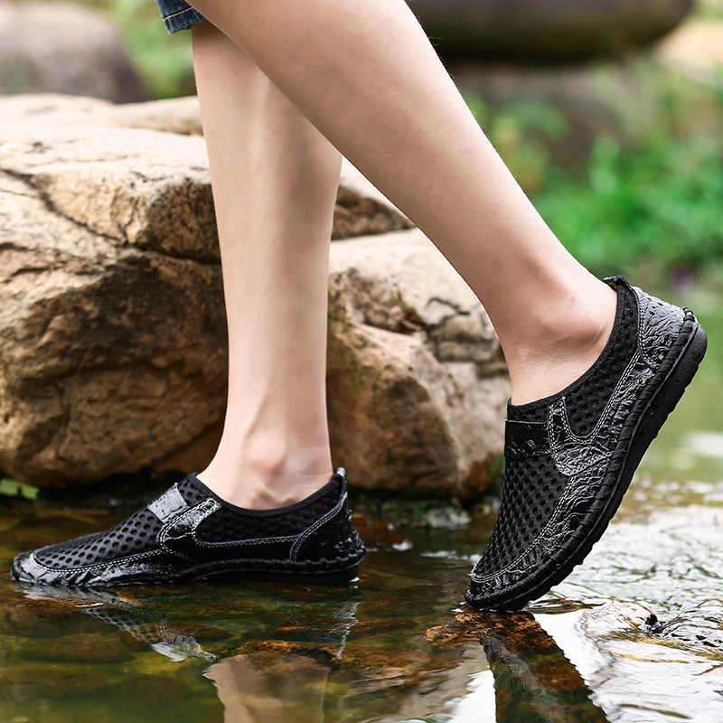 UPUPER 2020 Sommer Herren Schuhe Casual Atmungsaktive Mesh Outdoor Turnschuhe Männer Müßiggänger Slip-on Driving Schuhe Große Größe 38 -50