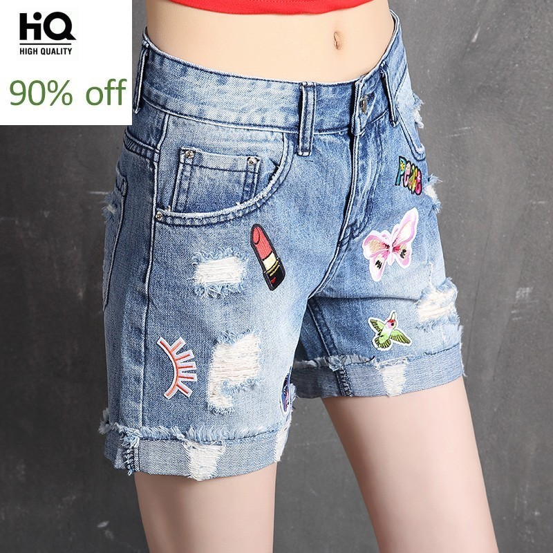 New Fashion 2020 Summer Women's Shorts Straight Loose Fit Casual Female Trouser Korean Style Embroidery Hole Ripped Jeans Short