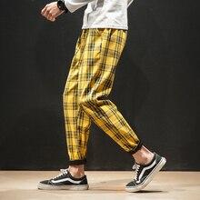 Pantalones Hombre Hombres Mujeres Coreano Negro Plaid Pantalones casuales 2020