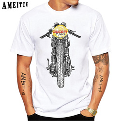 Ducati 750 Motorsport Racing Motorcycle Print T-Shirt New Summer Men Short Sleeve Funny Cool Boy Casual Tops Hip Hop White Tees