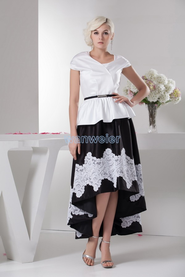 Free Shipping New Style 2016 New Design Hot Sale Short Sleeve Brides Maid Sexy Short Front Long Back Mother Of The Bride Dresses