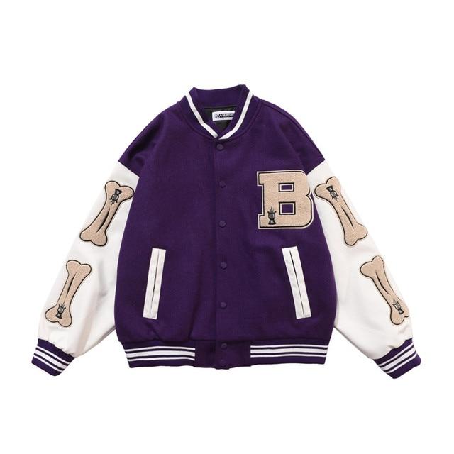 2020 hip hop streetwear baseball jacket coat letter B bone embroidery Stand-up collar japanese streetwear bomber college jacket 2
