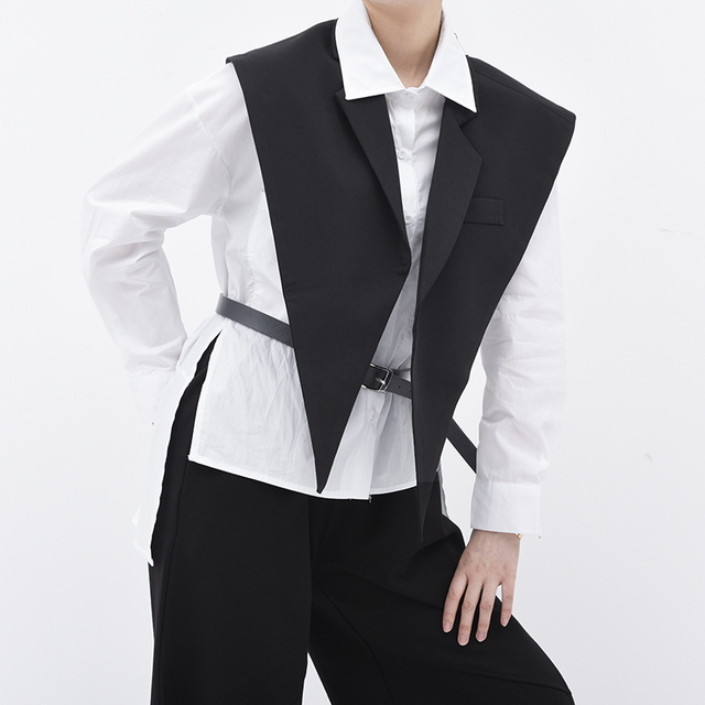 [EAM] Women Loose Fit Black Brief Irregular Split Joint Big Size Vest New Lapel Sleeveless  Fashion  Spring Summer 2021 1U52701 4