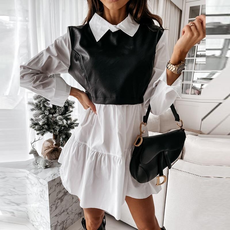 Women Plaid Dress Spring Fashion Long Sleeve PU Leather Patchwork Shirt Dress Turn-down Collar Office Lady Mini Dress Vestidos