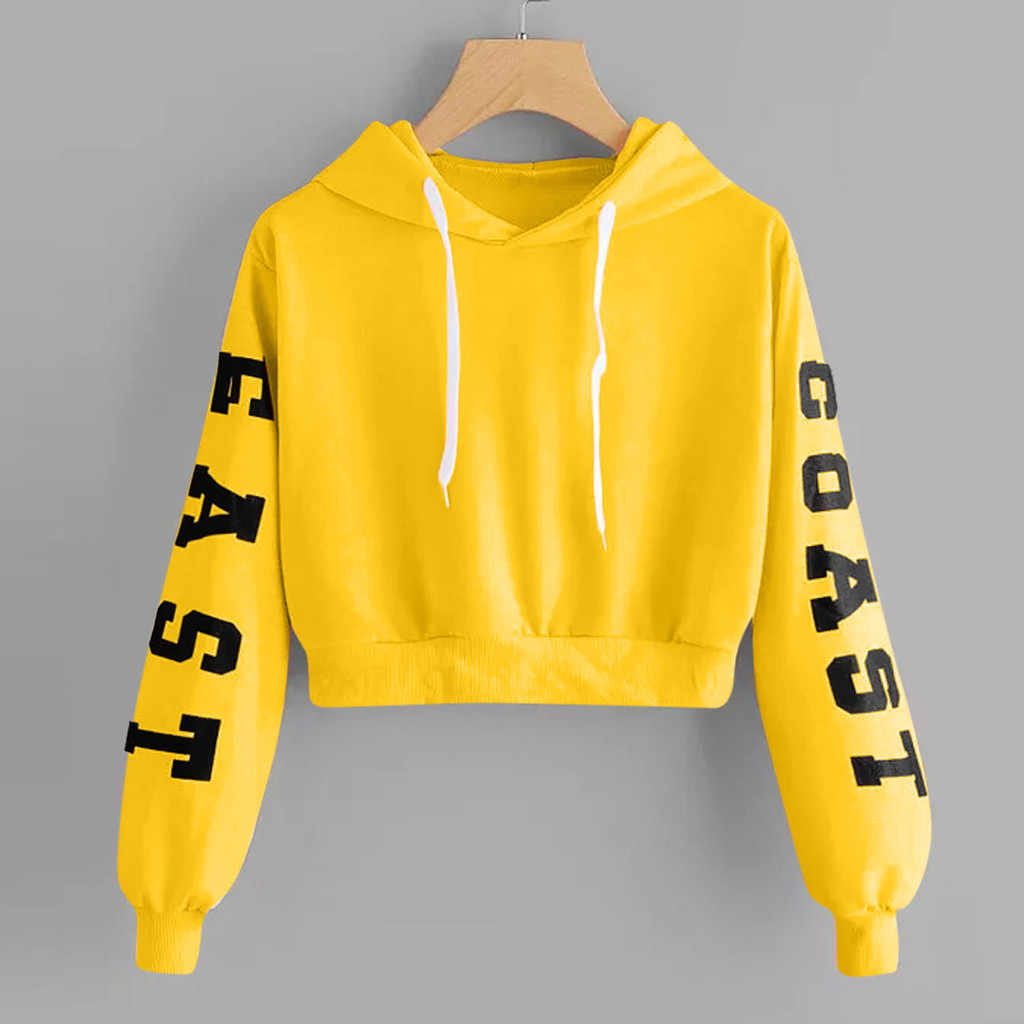 Cropped Hoodies Womens Sweatshirt Harajuku Letters Long Sleeve Pullover Tops spring XS-XL Womens Hooded street sudadera mujer