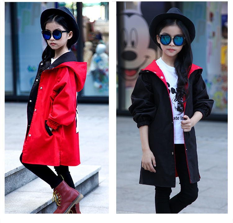 Girls Trench Coats Spring Autumn Kids Fashion Long Outerwear Jacket For Baby Girls Children Casual Cotton Hoodies Clothes Outfit