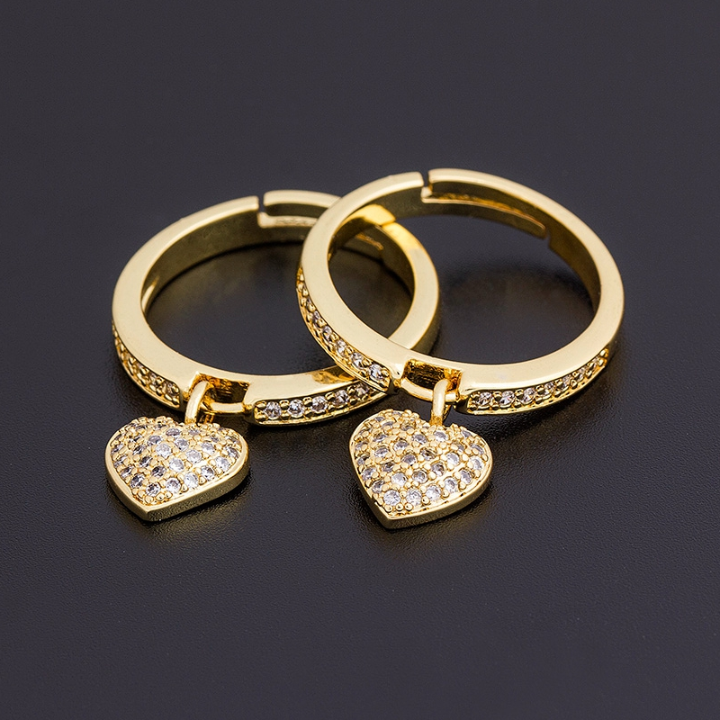 2021 New Fashion 6 Styles Heart Shaped Rings For Women Gold Color Adjustable Ring Best Party Wedding Anniversary Jewelry Gift 3