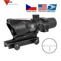 Lunette de chasse ACOG 4X32 vraie Fiber optique point rouge illuminé Chevron verre gravé réticule tactique optique vue