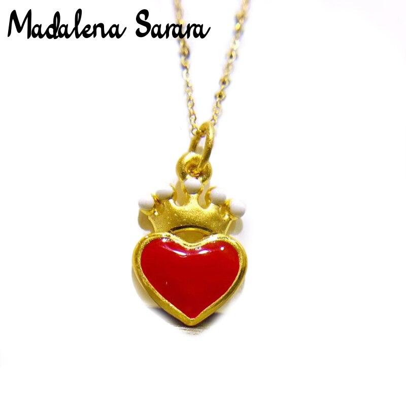MADALENA SARARA pur or coeur couronne pendentif 18k pur or chaîne collier petite clavicule chaîne collier