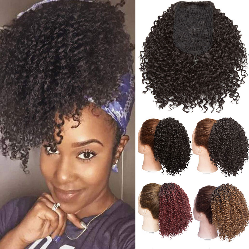 S-noilite Drawstring Puff Afro Kinky Curly Ponytail Synthetic Afro Puff Hair Extension Clip In Pony Tail For African American