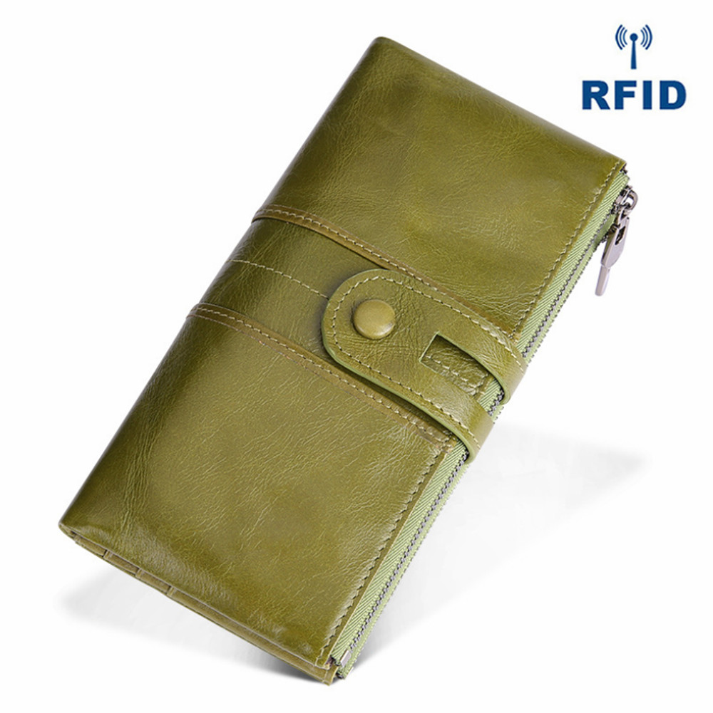 Cowhide Wallet Retro Leather Women's wallet Korean fashion mobile phone change handbag security brush Long Wallet