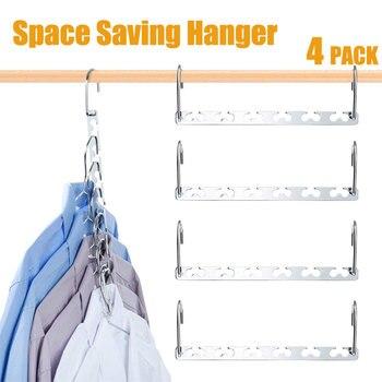 Nuevo Metal perchero mágico ahorro espacio pregunto ropa armario ganchos Organizadores de ahorro de espacio de vestuario actualizado diseño de gancho