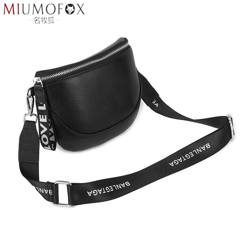 Fanny Pack Fashion Waist Bag Women Wide Shoulder Strap Crossbody Bag Versatile Female Travel Belt Bag Chest Pack Genuine Leather
