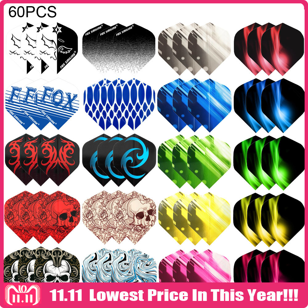 Fox Smiling Dart Flights Multiple Styles Colorful 60PCS PET Darts Flights Newly Dart Accessories