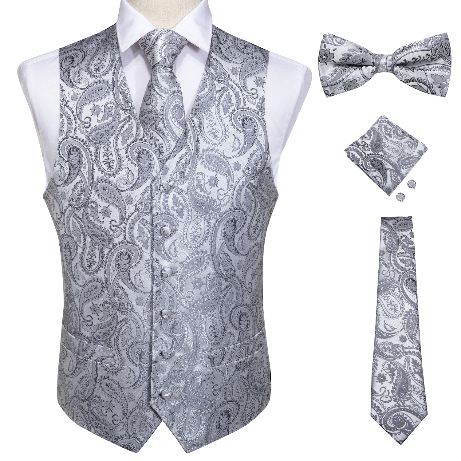 Mens Classic Silver Paisley Folral Silk Waistcoat Vests Wedding Handkerchief Necktie Suit Vest Set Sleeveless Jacket DiBanGu