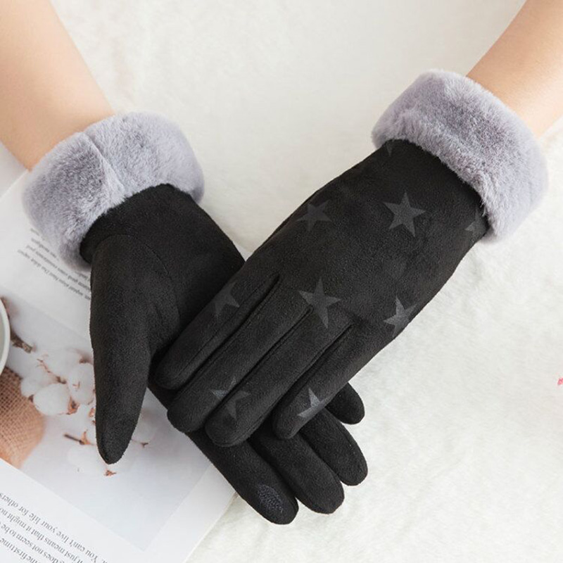 Winter Female Double Thick Plush Wrist Warm Cashmere Cute Cycling Mittens Women Suede Leather Touch Screen Driving Glove C56