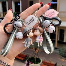 Kawaii Creative Couple Lovers Keychain A Pair Of Cute Men And Women Car Key Ring Female Backpack BAG Pendant Bell Lanyard