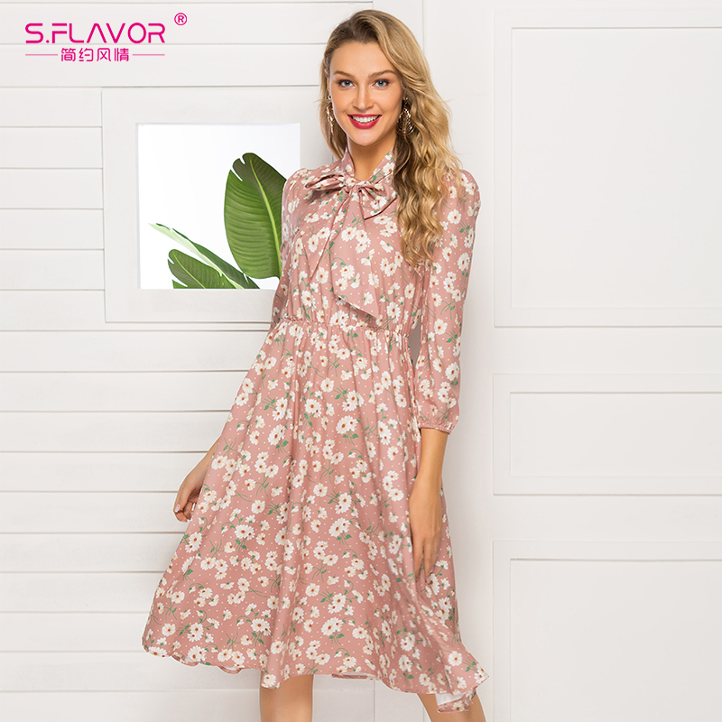 S.FLAVOR French Style Floral Printed Women Autumn Dress 2019 New Fashion 3/4 Sleeve Stand Collar Party Vestidos Casual Dress