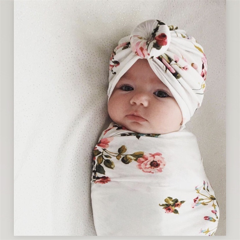 2pcs/set Baby Swaddle Wrap Baby Blankets Newborn Cotton Swaddle Wrap Headband Baby Hat Turban Beanie Newborn Photography Prop