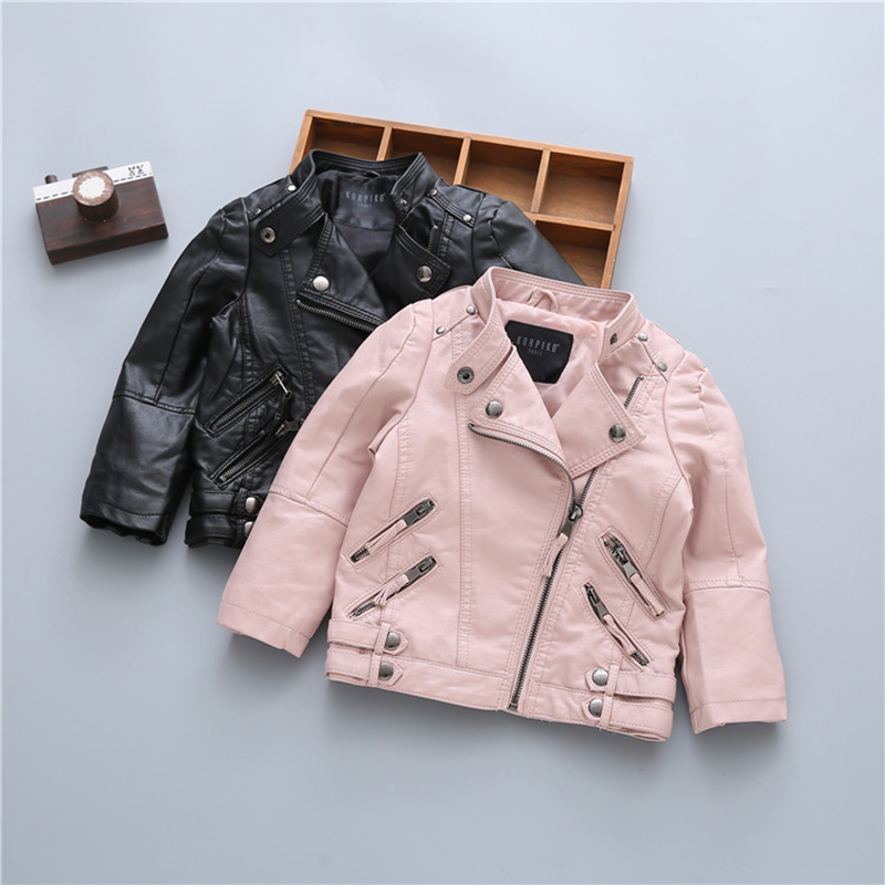 Children's PU Leather Jackets Autumn Winter Boys And Girls PU Leather Collars Coats Kids Classic Fashion Warm Outerwear Clothing