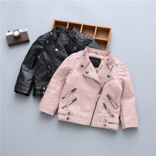 Childrens PU Leather Jackets Autumn Winter Boys and Girls PU Leather Collars Coats Kids Classic Fashion Warm Outerwear Clothing