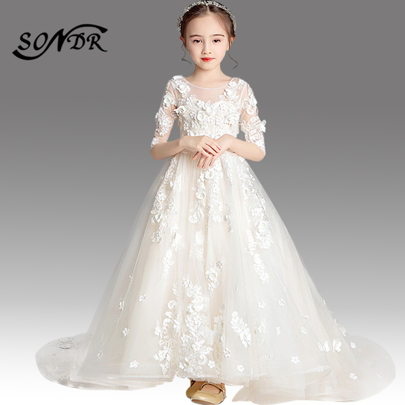 Elegant Flower Girl Dresses HT168 Appliques White Flower Girl Dress For Weddings Half Sleeve Train Tulle Kids Pageant Ball Gowns