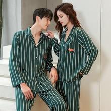 Новинка полосатый принт одежда для сна пары пижамы комплект для женщин мужские атлас шелк кимоно мужские пижамы уютные мягкие ночная рубашка дом одежда