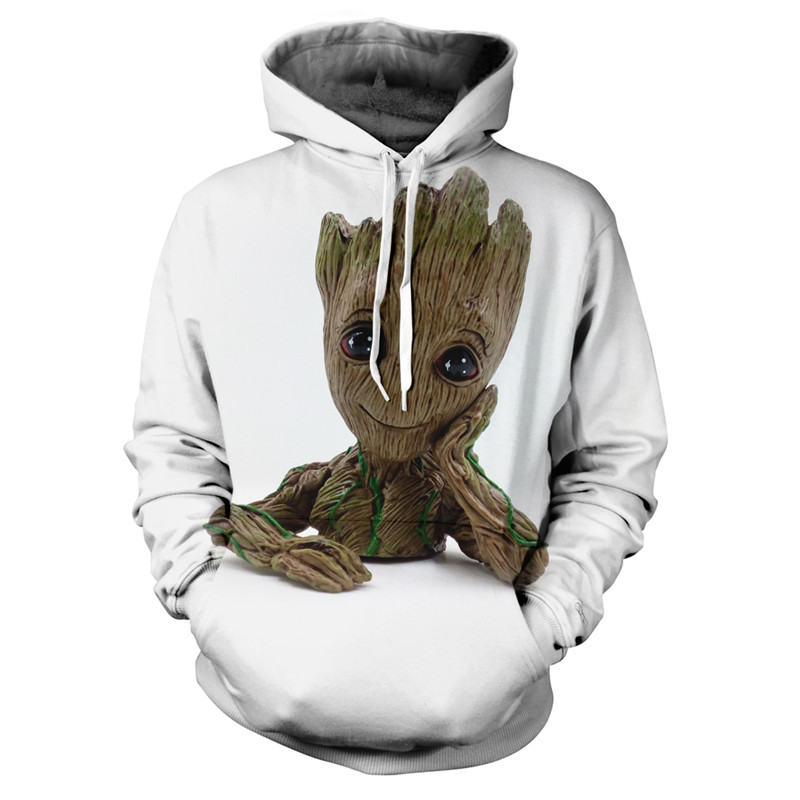 Off White Groot Guardians Of The Galaxy Hoodies Groot Sweatshirt 3D Cartoon Print Funny Streetwear Casual Hooded Men Clothing