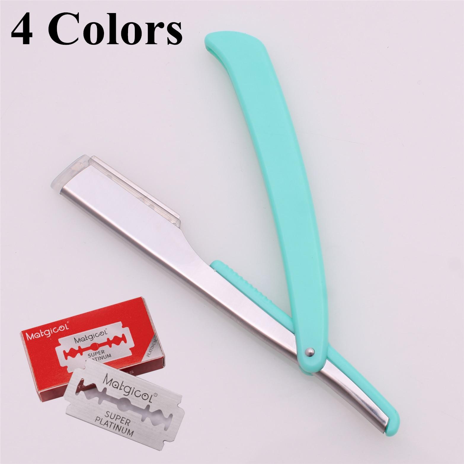 Hair Cut Razor Male Female Shaving Razors Barber Hair Razors Salon & Home Folding Shaver Knife ABS Holder 1 Pcs + 10 Blade 74#