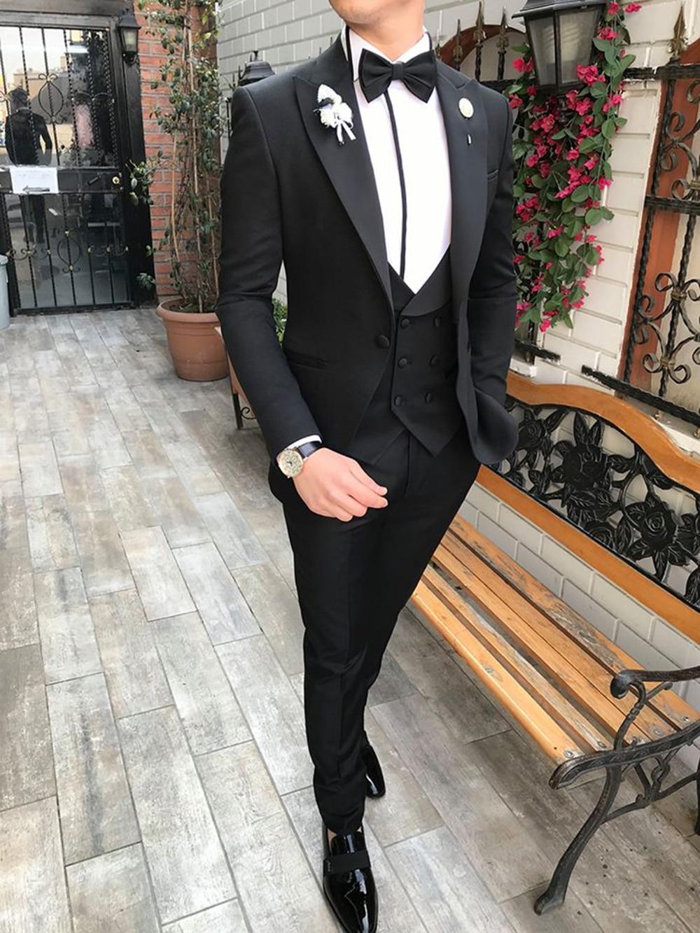 2020 New Casual Men's Suits Slim Fit 3 Piece Notch Lapel Prom Tuxedos Groomsmen For Wedding (Blazer+Vest+Pants)