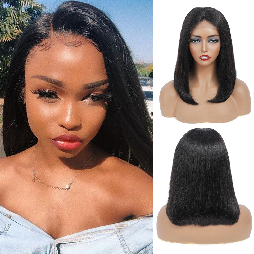 Short Straight Wave Bob Wig  Virgin  4x4 Lace Part 180% Density Plucked with Baby Hair Lace Closure Wig 1