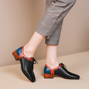 Image 4 - المرأة الشقق أحذية من الجلد الحقيقي أحذية رياضية امرأة البروغ خمر حذاء كاجوال مسطح الأربطة أكسفورد أحذية للنساء ربيع 2020