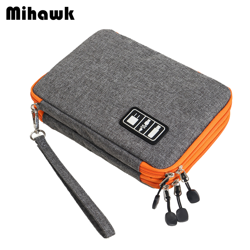 Mihawk Double Layer Men's Travel Accessories Bags Male Data Charging Line Storage Pouch Mobile Phone Camera Organizer Box Supply