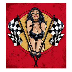 Racing Girl Heat Transfer Stickers Patch Printing DIY Thermal Transfer Pattern Stickers Iron on Patches New Hot Sale